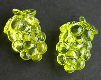 Two (2) Lime Green Grape Buttons. Bunch of Grapes Green Buttons. Clear Buttons. Clear Acrylic Buttons. Plastic Buttons. 26mm x 17mm