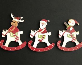 Christmas Flat Backs Cutouts. Set of Three. Scrapbooking CutOut. Wood Embellishments. Wood Cut Outs. Holiday Scrapbook Decoration.