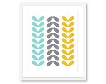 Mid Century Print, Mid Century Leaves Print, Scandinavian Print, Scandinavian Wall Art, Frame not included , 8x10 print on 8.5x11 paper