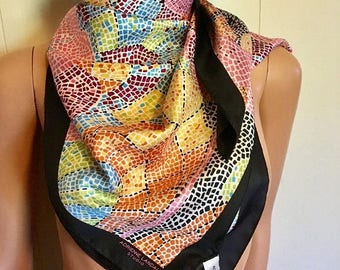 Adrienne Laundau Studio colorful mosaic illustrated designer silk large square scarf with tags signed never worn MINT