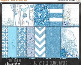 80% Off SALE Digital paper - - Digital Scrapbook paper pack - Instant download - 12 Digital Papers - Blue Glitter