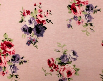 Dusty Pink Purple and Burgundy Floral Rayon Spandex Jersey Knit Fabric, 1 Yard