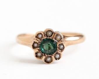 Sale - Antique 10k Rose Gold Green Garnet & Seed Pearl Cluster Ring - Size 4 1/2 Vintage Edwardian Green Gem Fine Halo Engagement Jewelry