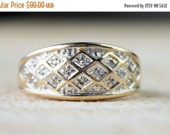ON SALE Vintage Ladies Diamond Cluster Ring Engagement Yellow Gold 9ct 9k 9kt 375   FREE Shipping   Size M.5 / 6.5