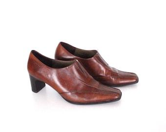 Women's Vintage TAMARIS Mid Heel Court  Brown 100% Real Leather Shoes Size UK5 EU38