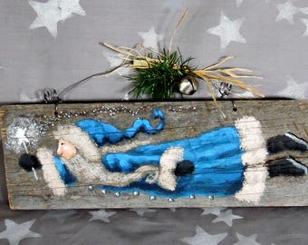 """The Magical Star-wand, Santa Claus on authentic barnwood, original hand painted art, 10 1/2"""" x 3 3/4"""""""