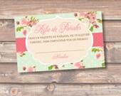 Diaper Raffle Spanish Rosado Flores Rifa de Pañales Tarjetas Baby Shower Niña Rosa Elegante Sorteo Boletas Rifa Pañales - INSTANT DOWNLOAD