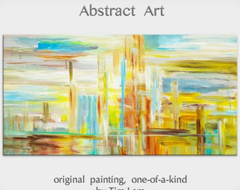 """sale Huge original Oil painting Modern deco Impasto Texture Abstract Painting by Tim Lam 48"""" x 24"""""""
