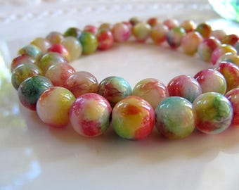 8mm Mountain JADE Beads in Turquoise, Yellow, Pink, Purple, Green and Cream, Dyed, Round, 1 Strand 16 Inches, Approx 48 Beads Gemstone Beads