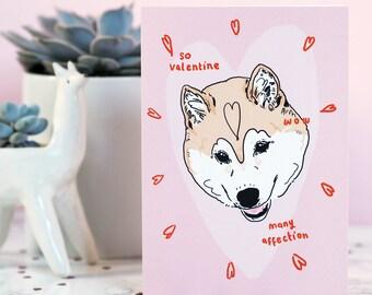 Doge Valentine's Card, Valentine's Day, MemeCard, Funny Dog, Shibe Card, Shiba Inu, Cute Greetings Card, wow, doggo, happy pup, I love you