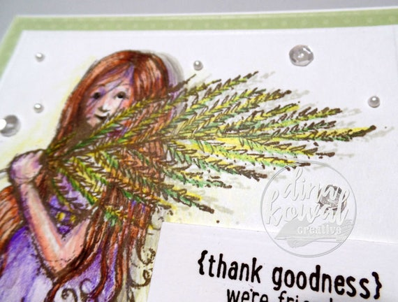 handmade greeting cards - Thank Goodness We're Friends Fern Girl