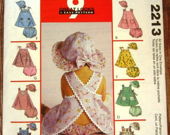 Easy to Sew Infant Girls Dresses,Panties and Hat Sizes S M L XL McCalls Pattern 2213 UNCUT