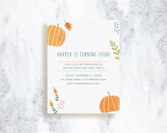 Pumpkin Patch Invitation Set | Birthday Party Invite | Halloween | Baby Shower | Fall Harvest