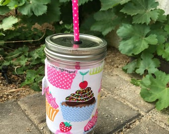 Birthday cupcakes sleeve straw lid DIY mason jar tumbler