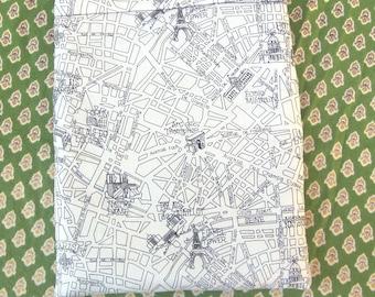 MAXI BOOK SLEEVE- Paris Map - Book Pouch, Book Protector