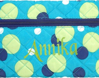 Personalized Quilted Cosmetic Case or Pencil Pouch Dots