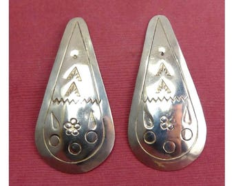 Mexican Sterling Silver Long Teardrop Earrings with Stamped Designs