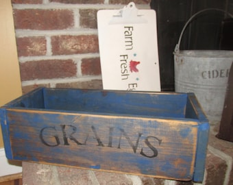 "Antique Primitive French Bakery "" Grains "" Box Crate Breads display"