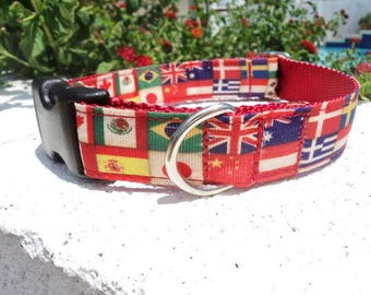 """Sale Dog Collar Flags of the World 1"""" Side Release buckle or  Martingale collar style adjustable"""