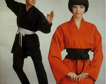 Unisex Karate and Judo Tunic Pattern, Belt, Japanese Costume, Wrap, LOng Sleeves, Banded Front, Simplicity No. 0691 UNCUT Size XS S M L XL