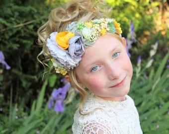 yellow grey halo,Ready to ship, vintage yellow halo,flower crown,fall headband,fairy headband,flower girl headband,  ages 1yr-adult