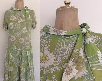 30% OFF 1960's Nylon Flower Print Dropwaist & Ascot Bow Dress Size Small Medium by Maeberry Vintage