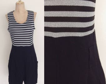 1980's Striped Top Romper Black & Silver Grey Striped Size Small Medium by Maeberry Vintage