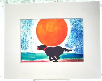 Black Labrador retriever watercolor giclee, Lab dog on the beach, dog watercolor painting print, beach house decor, WHITE matte 8x10, P-526b