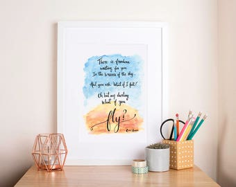 What If I Fall Oh My Darling What If You Fly, Art Print. Motivational print, Nursery Art, Erin Hanson Poem, Unique Gift, Inspirational Quote