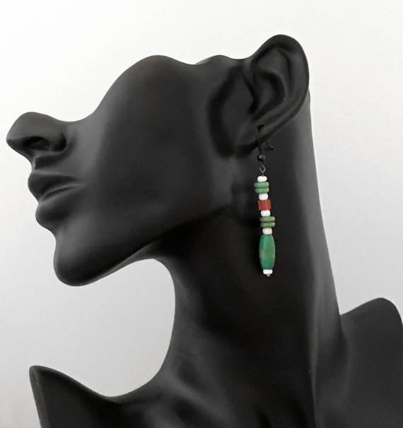 Earrings- Hand-made Beaded Drop Earrings - 1 pair