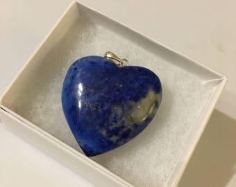 Heart Pendant, Sodalite Pendant, Gemstone Pendant, Blue Pendant, Carved Pendant, Gift for Her, Natural Sodalite, Sodalite Jewelry
