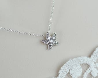 Starfish Necklace, Star Fish Rhodium Plated Cubic Zirconia Pave Setting Necklace, Bridal Bridesmaids Necklace, Wedding Destination Jewelry