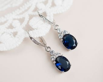 Sapphire Earrings, Cubic Zirconia Blue Sapphire Bridal Earrings, Cubic Zirconia Blue Sapphire Bridal Dangle Earrings, Bridesmaids Earrings