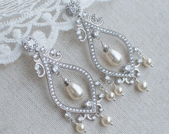 Bridal Earrings,Chandelier Bridal Earrings,Cubic Zirconia and Swarovski Pearls Chandelier Bridal Earrings,CZ Stud Chandelier Bridal Earrings