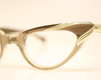 Small Unused Vintage Cat eye glasses Brown cat eye frames NOS