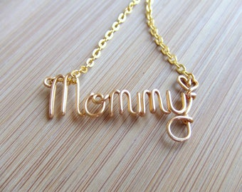 Mommy Necklace, Handcrafted in Cursive Script, Mom Gift, Mom Necklace, Gifts for Her,Personalized Mothers Necklace, Word Jewelry  for Moom