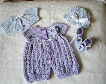 Lavender 4 Piece Romper Set for 3 Months Girl