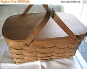 Vintage Wood Picnic Basket Nordic Fench decor Cottage Chic