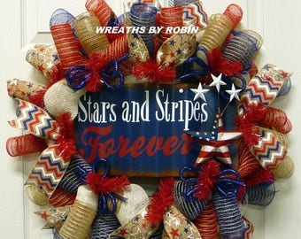 10% OFF CLEARANCE - Stars and Stripes Forever Wreath, RWB Wreaths, Patriotic Wreaths (2755)