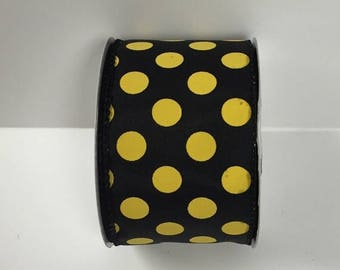 ON SALE 2.5 Inch Black Yellow Dot Ribbon 224085-1004, Wired Ribbon, College Wreath Ribbon