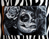 Cosmetic Bag Case | Duality by Carissa Rose | Day of the Dead Sugar Skull Girl | Punk Rock Gothic Lowbrow Tattoo Art
