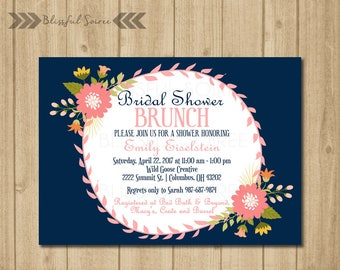 Bridal Shower Invitation   Shabby Chic Bridal   Shower Invite   Floral   Bridal Shower Brunch   Vintage   Navy and Coral   BRS18