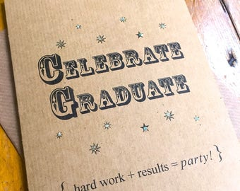 Celebrate Graduate! Congratulations Card Vintage Inspired Brown Kraft Card Degree Exam Results Student Congrats Celebration FREE UK P&P