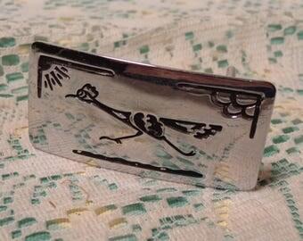 Vintage Nickle Plated Western Belt Buckle  -  Roadrunner Southwestern Belt Buckle  -  17-061