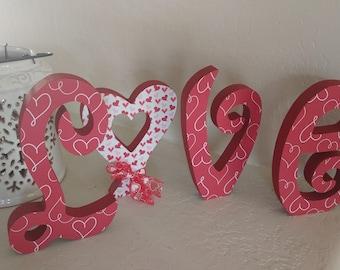 Love, Wooden Valentine Decor, Valentine Decor, Valentine Decoration, Love,  Valentines Day