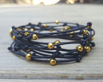 Multi Strand Leather and Gold Bead Bracelet