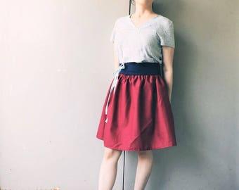 Elastic Puff Skirt, Wine Red