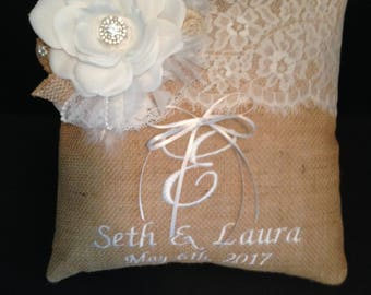 Personalized Burlap Ring Bearer Pillow Wedding Custom Designed