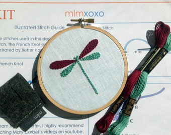 "Embroidery KIT by mlmxoxo.  modern hand embroidery kit.  dragonfly embroidery pattern.  DIY needlework kit.  nursery decor.  4"" hoop art kit"