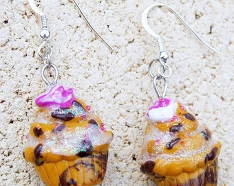 Treats cupcake marbled chocolate earrings, polymer clay